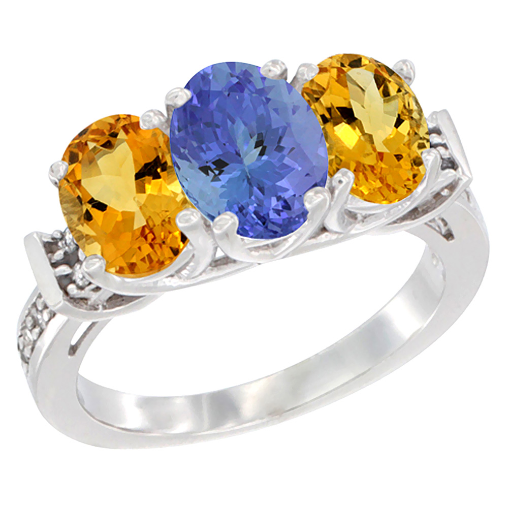 14K White Gold Natural Tanzanite & Citrine Sides Ring 3-Stone Oval Diamond Accent, sizes 5 - 10
