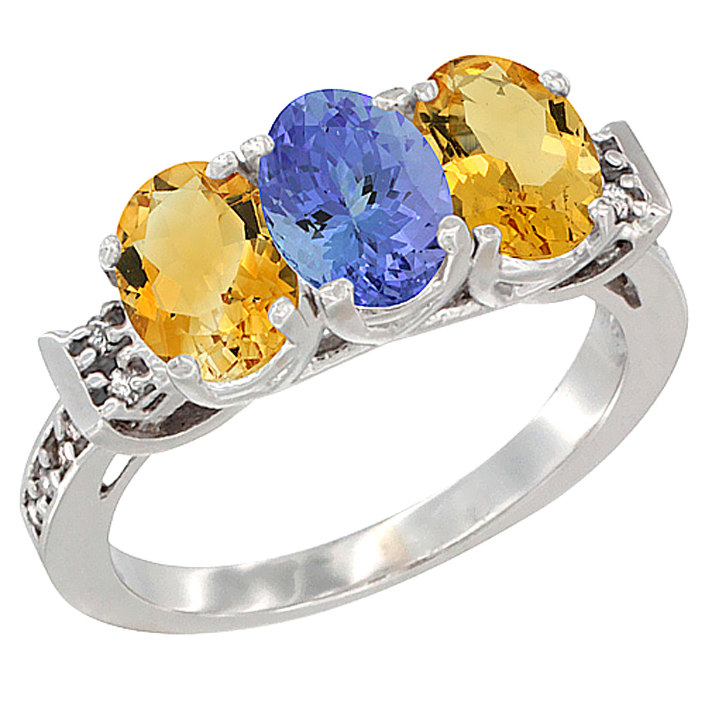 14K White Gold Natural Tanzanite & Citrine Sides Ring 3-Stone 7x5 mm Oval Diamond Accent, sizes 5 - 10