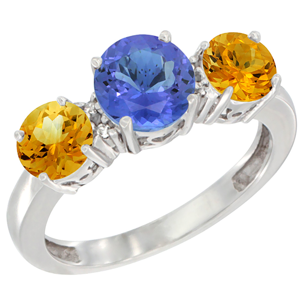 14K White Gold Round 3-Stone Natural Tanzanite Ring & Citrine Sides Diamond Accent, sizes 5 - 10