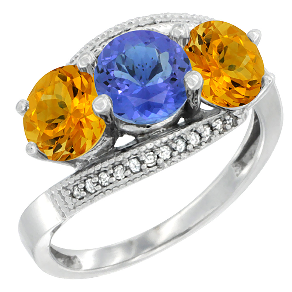 14K White Gold Natural Tanzanite & Citrine Sides 3 stone Ring Round 6mm Diamond Accent, sizes 5 - 10