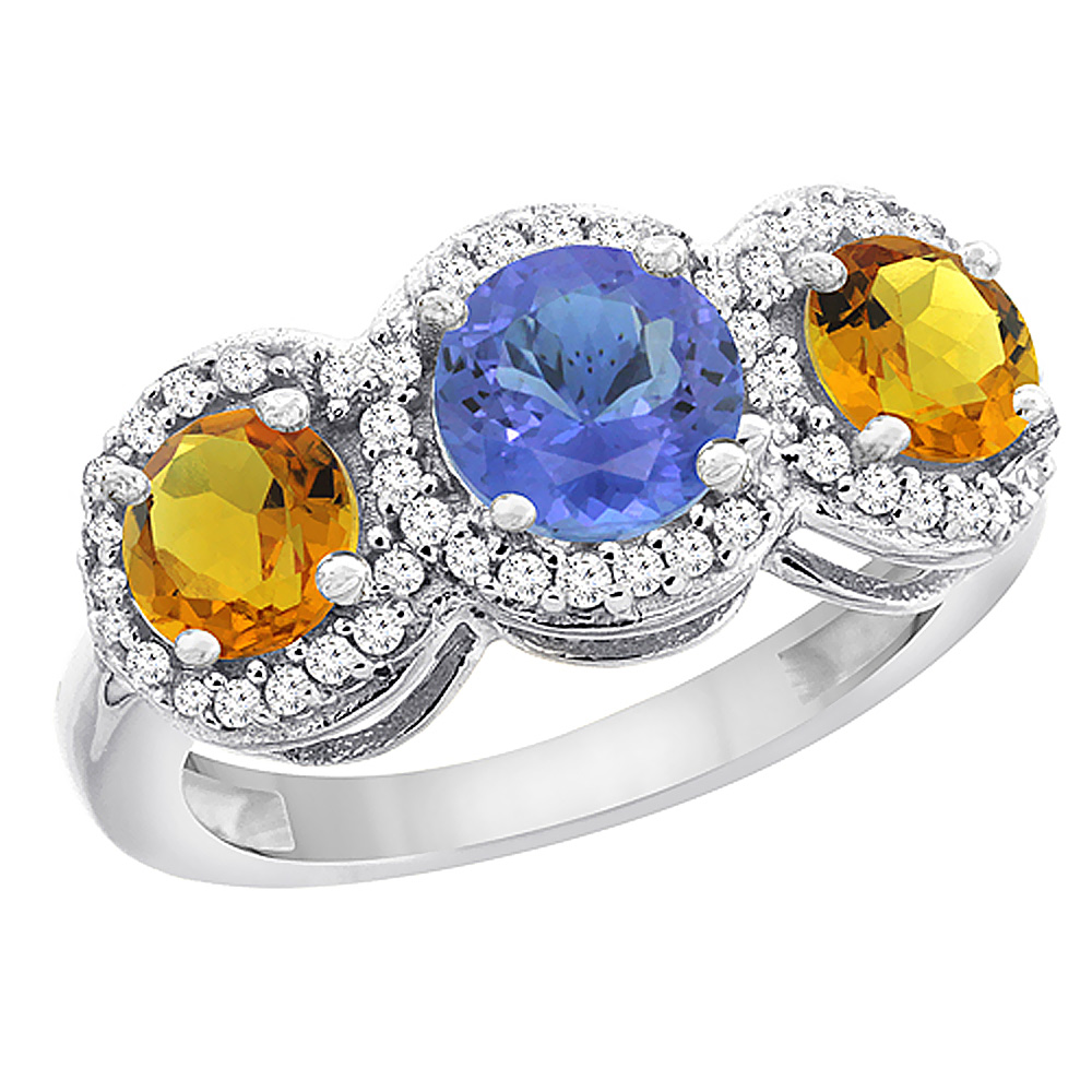 14K White Gold Natural Tanzanite & Citrine Sides Round 3-stone Ring Diamond Accents, sizes 5 - 10