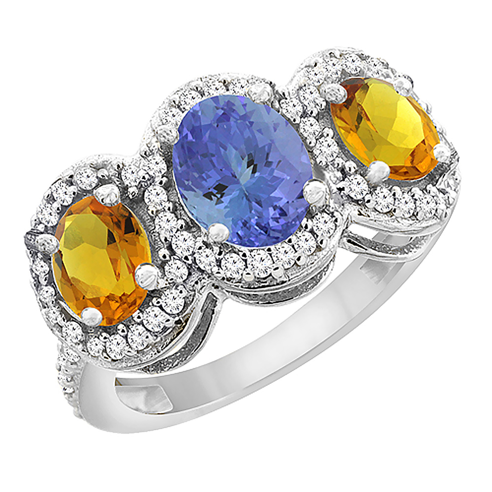 14K White Gold Natural Tanzanite & Citrine 3-Stone Ring Oval Diamond Accent, sizes 5 - 10