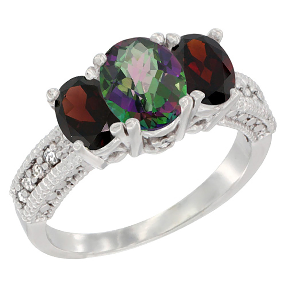 10K White Gold Diamond Natural Mystic Topaz Ring Oval 3-stone with Garnet, sizes 5 - 10