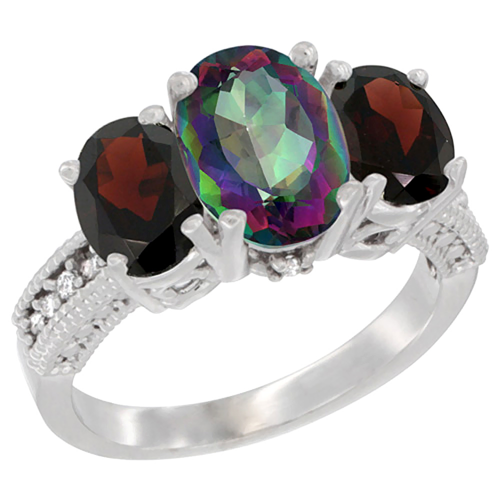 10K White Gold Diamond Natural Mystic Topaz Ring 3-Stone Oval 8x6mm with Garnet, sizes5-10