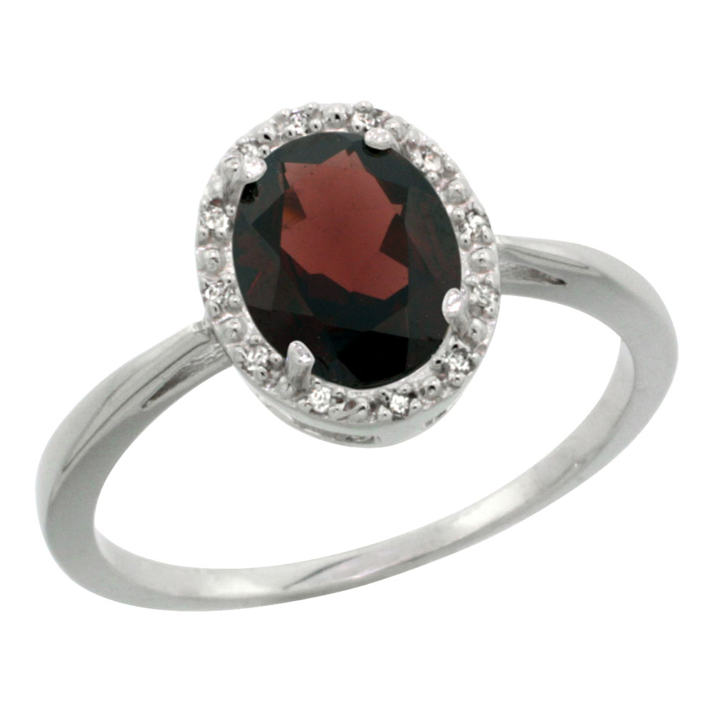 14K White Gold Natural Garnet Diamond Halo Ring Oval 8X6mm, sizes 5-10