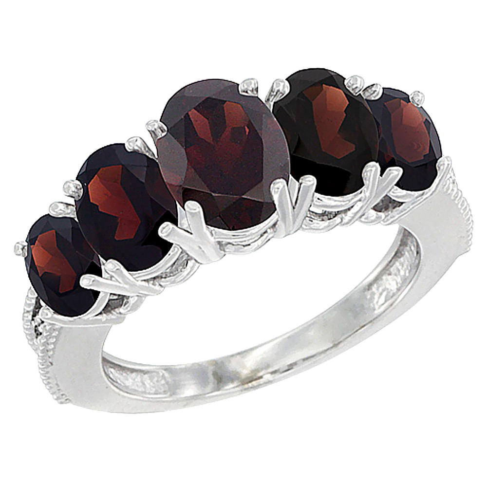 14K White Gold Diamond Natural Garnet Ring 5-stone Oval 8x6 Ctr,7x5,6x4 sides, sizes 5 - 10