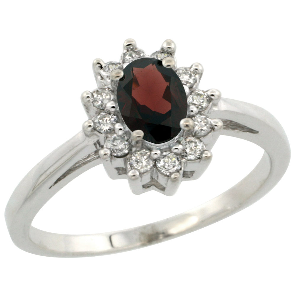 14K White Gold Natural Garnet Flower Diamond Halo Ring Oval 6x4 mm, sizes 5-10