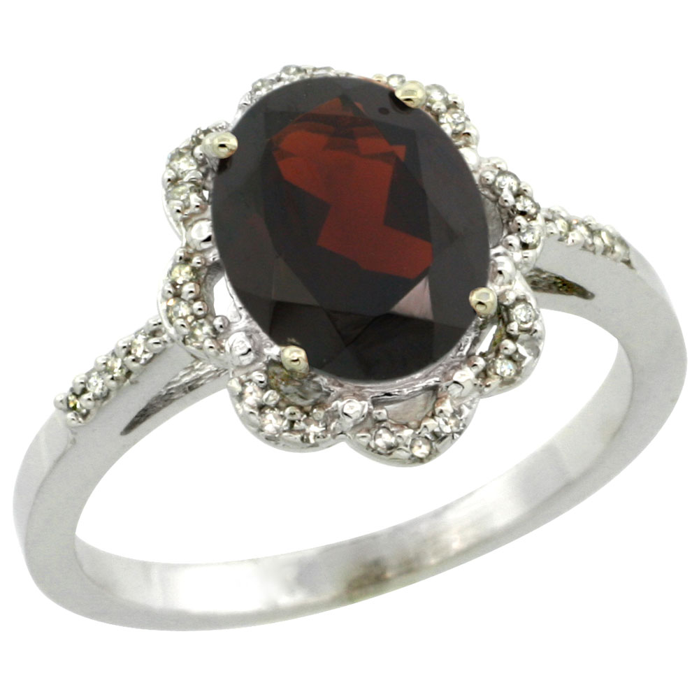 14K White Gold Diamond Halo Natural Garnet Engagement Ring Oval 9x7mm, sizes 5-10