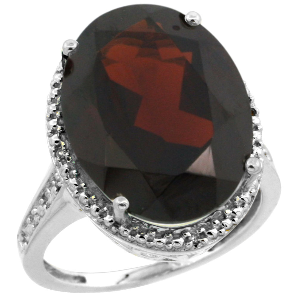 Sterling Silver Diamond Natural Garnet Ring Oval 18x13 mm, sizes 5-10