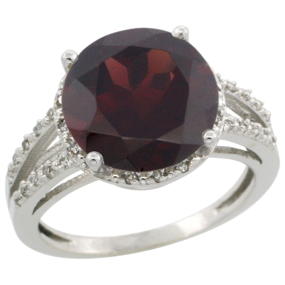 14K White Gold Diamond Natural Garnet Ring Round 11mm, sizes 5-10