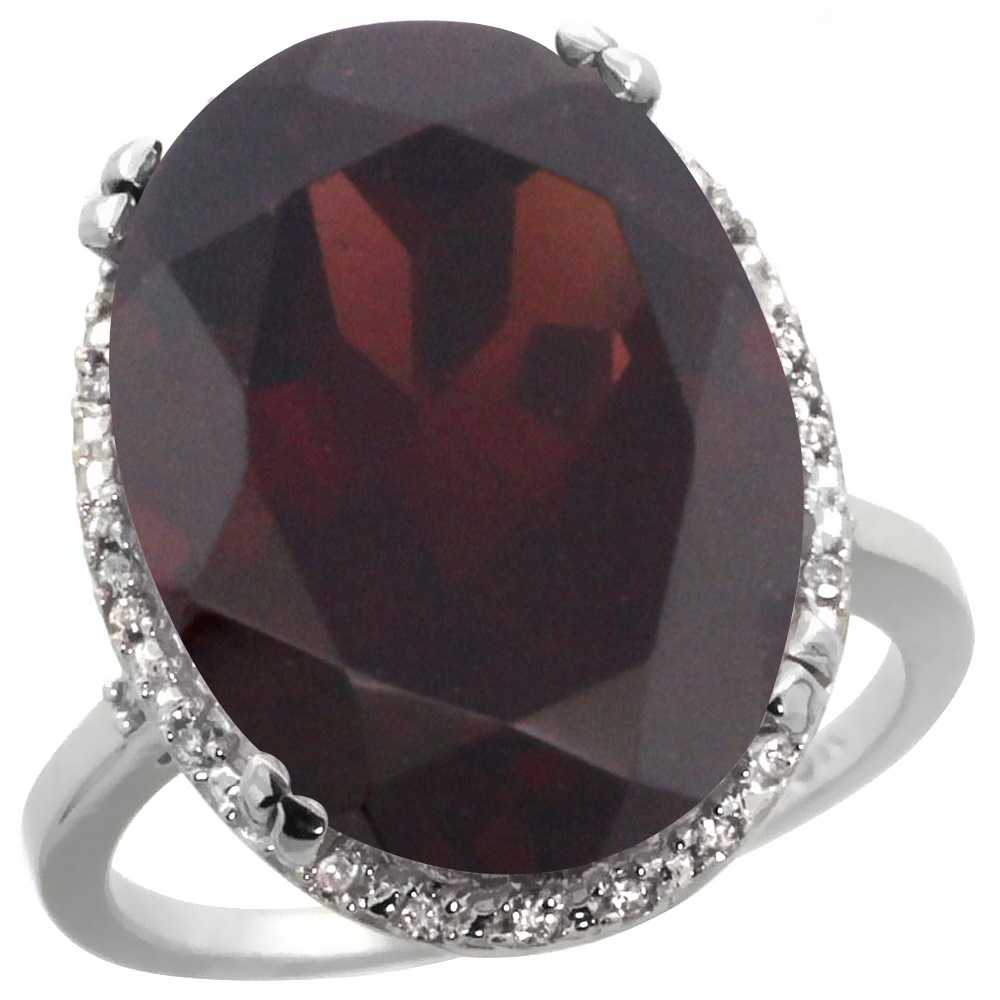 10k White Gold Natural Garnet Ring Large Oval 18x13mm Diamond Halo, sizes 5-10