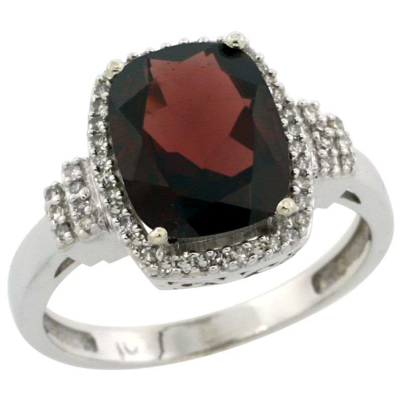 10k White Gold Natural Garnet Ring Cushion-cut 9x7mm Diamond Halo, sizes 5-10