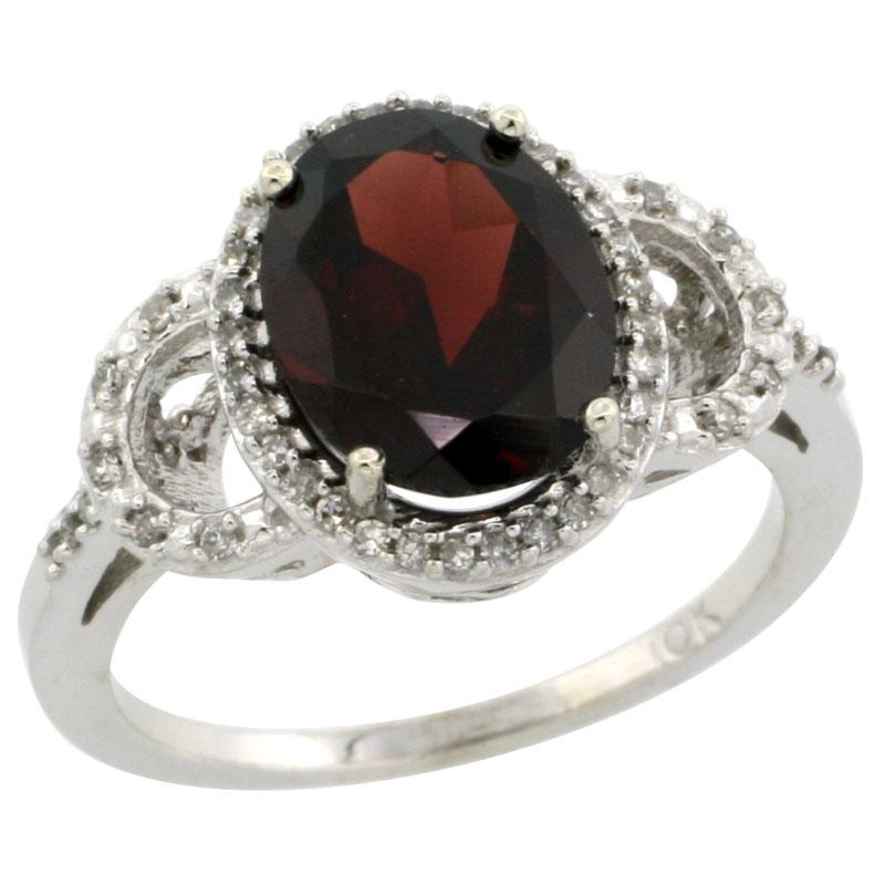 14K White Gold Diamond Natural Garnet Engagement Ring Oval 10x8mm, sizes 5-10