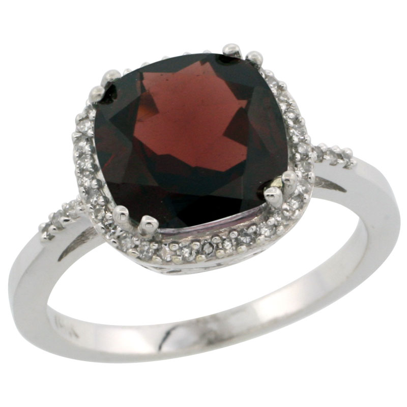 14K White Gold Diamond Natural Garnet Ring Cushion-cut 9x9mm, sizes 5-10