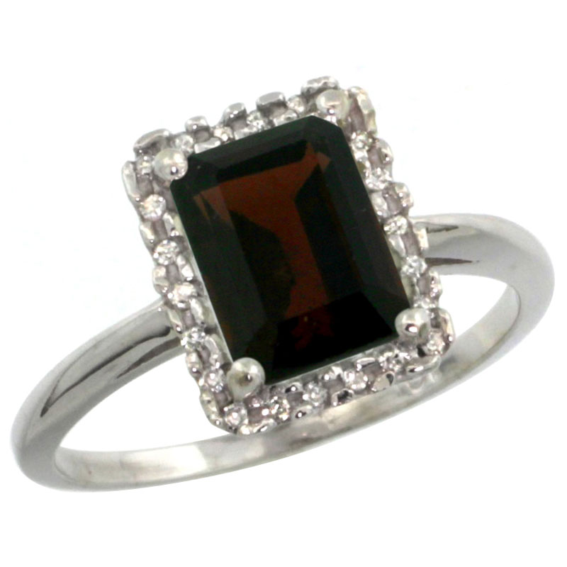 14K White Gold Diamond Natural Garnet Ring Emerald-cut 8x6mm, sizes 5-10