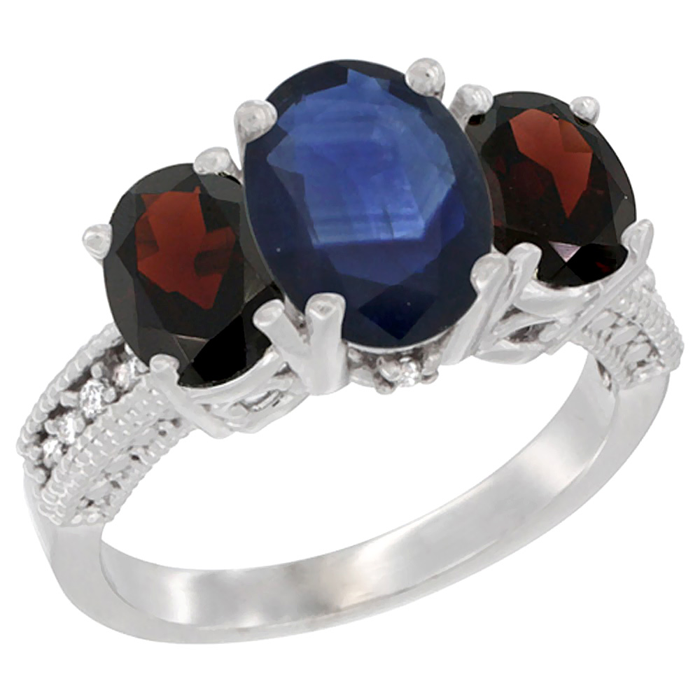 10K White Gold Diamond Natural Quality Blue Sapphire 3-stone Mothers Ring Oval 8x6mm with Garnet, sz5-10