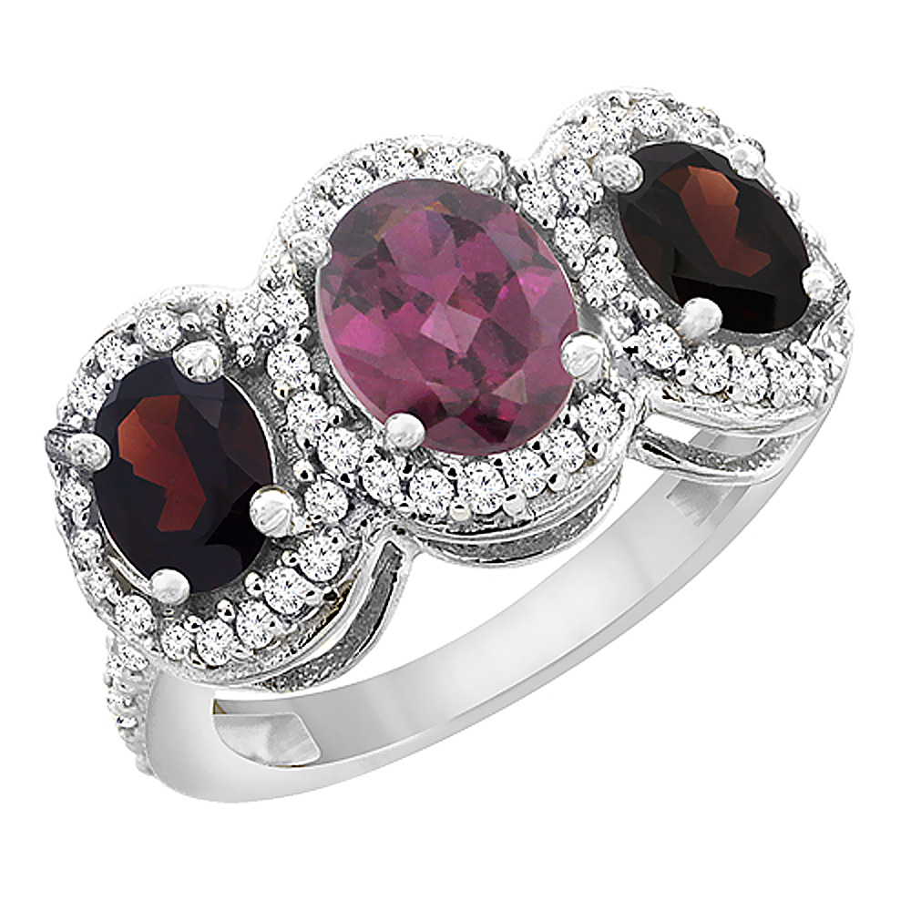 14K White Gold Natural Rhodolite & Garnet 3-Stone Ring Oval Diamond Accent, sizes 5 - 10