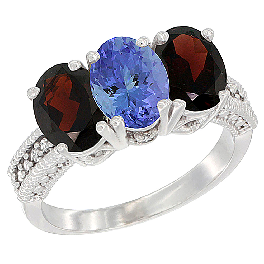 14K White Gold Natural Tanzanite & Garnet Sides Ring 3-Stone 7x5 mm Oval Diamond Accent, sizes 5 - 10