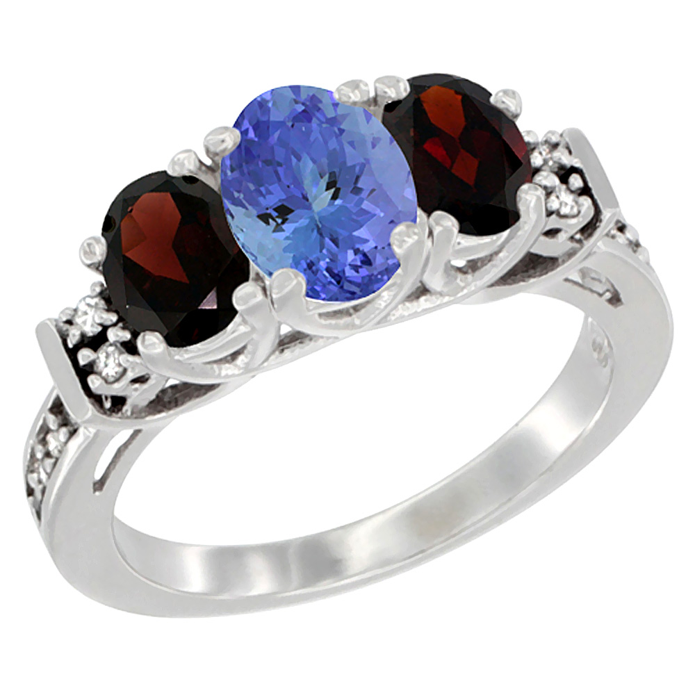 14K White Gold Natural Tanzanite & Garnet Ring 3-Stone Oval Diamond Accent, sizes 5-10