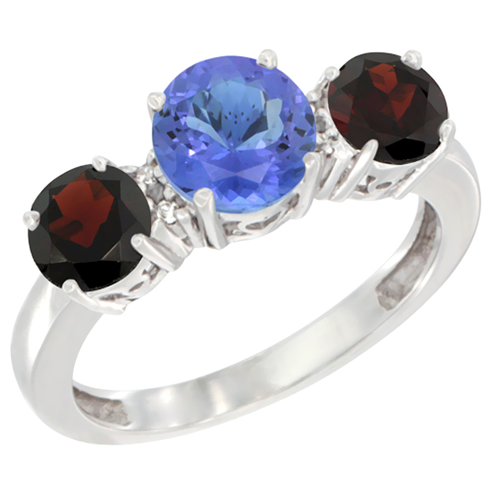 14K White Gold Round 3-Stone Natural Tanzanite Ring & Garnet Sides Diamond Accent, sizes 5 - 10