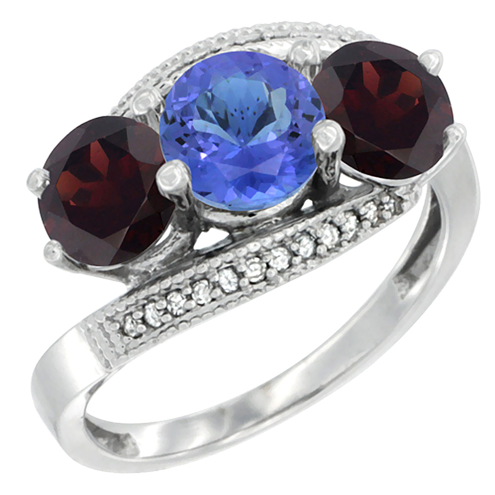 14K White Gold Natural Tanzanite & Garnet Sides 3 stone Ring Round 6mm Diamond Accent, sizes 5 - 10