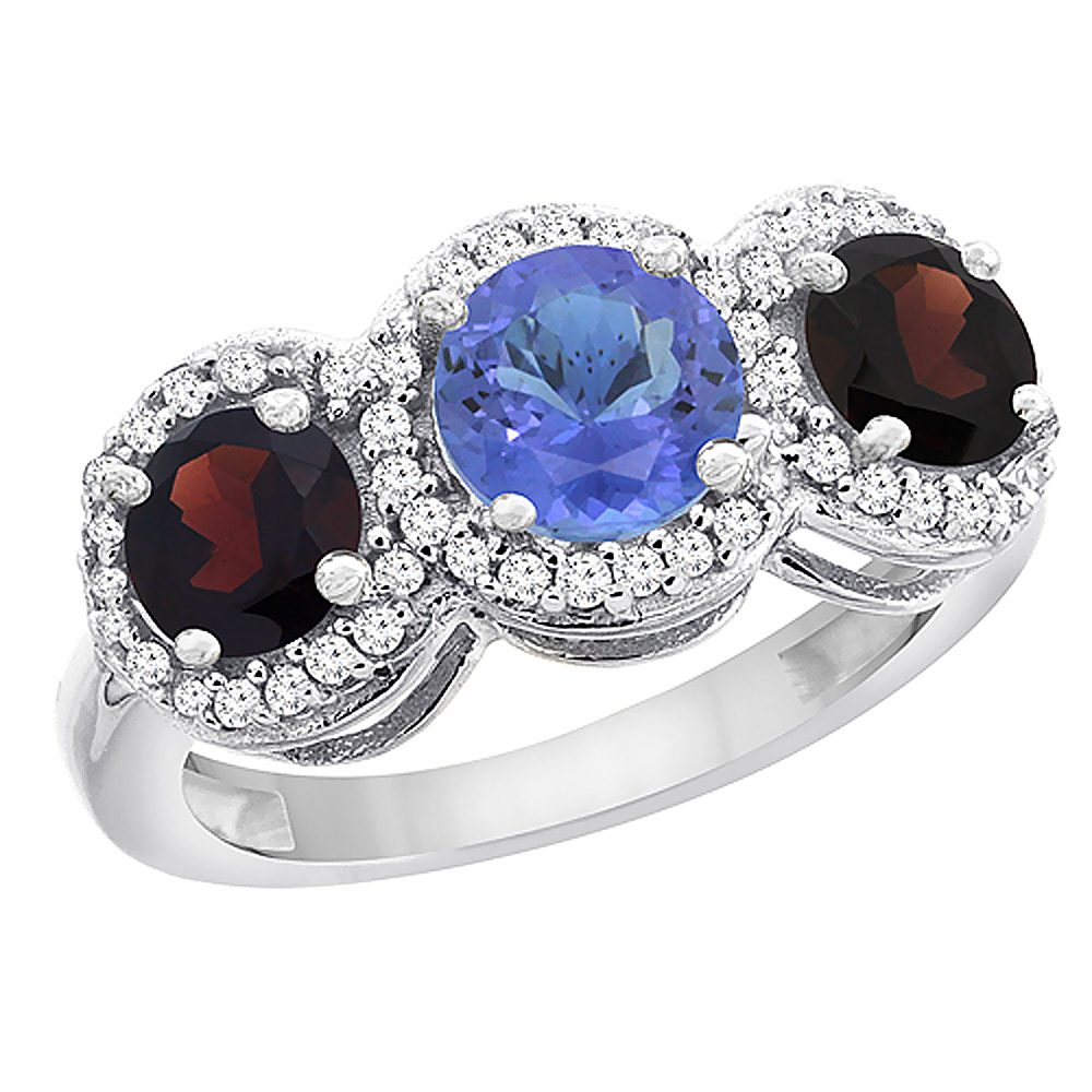 14K White Gold Natural Tanzanite & Garnet Sides Round 3-stone Ring Diamond Accents, sizes 5 - 10