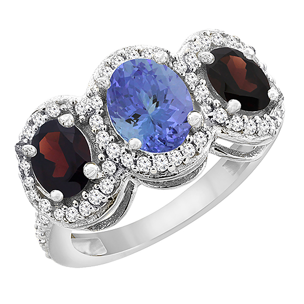 14K White Gold Natural Tanzanite & Garnet 3-Stone Ring Oval Diamond Accent, sizes 5 - 10