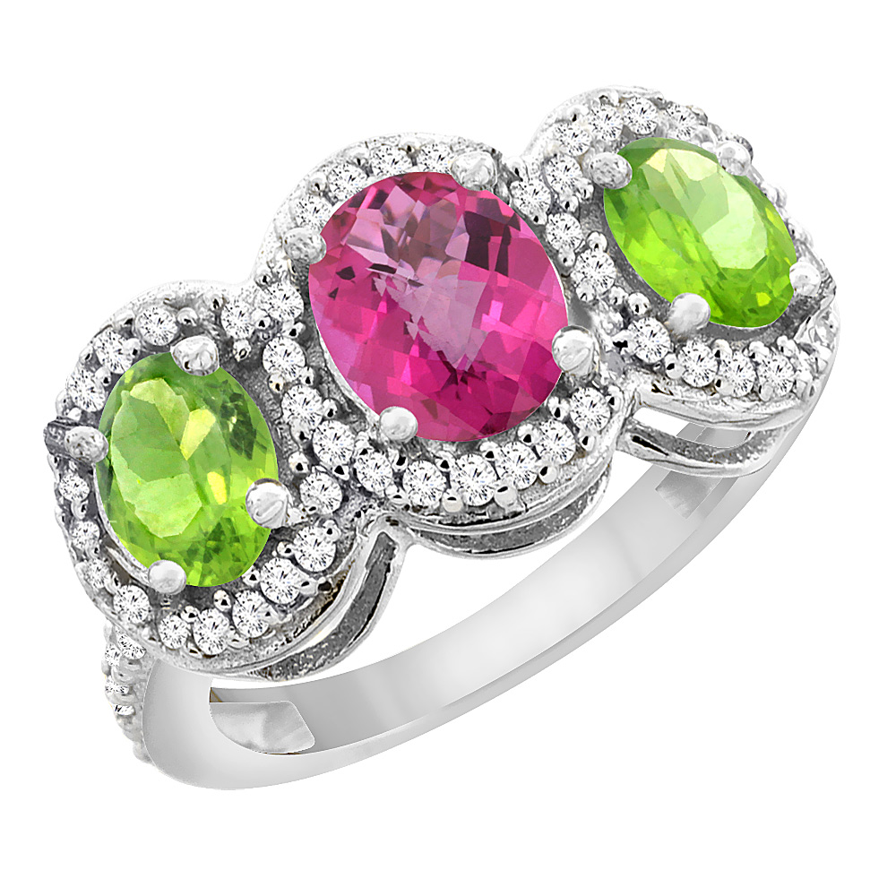 14K White Gold Natural Pink Sapphire & Peridot 3-Stone Ring Oval Diamond Accent, sizes 5 - 10