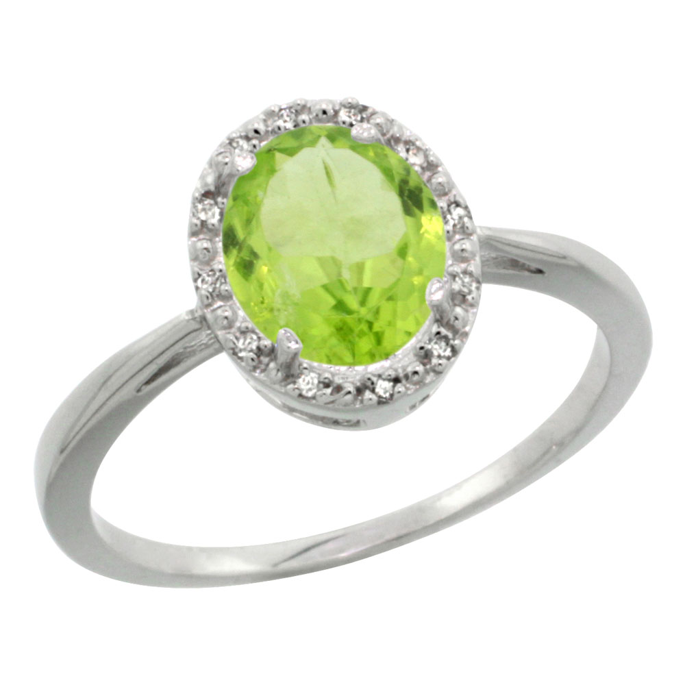 14K White Gold Natural Peridot Diamond Halo Ring Oval 8X6mm, sizes 5-10