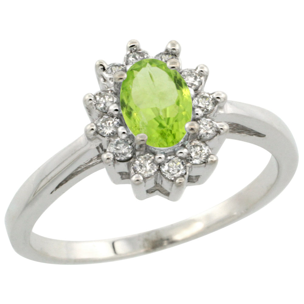 10K White Gold Natural Peridot Flower Diamond Halo Ring Oval 6x4 mm, sizes 5 10