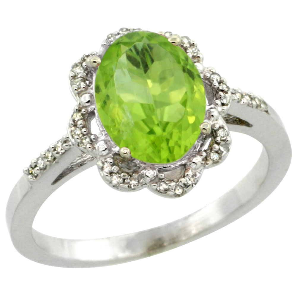 10K White Gold Diamond Halo Natural Peridot Engagement Ring Oval 9x7mm, sizes 5-10
