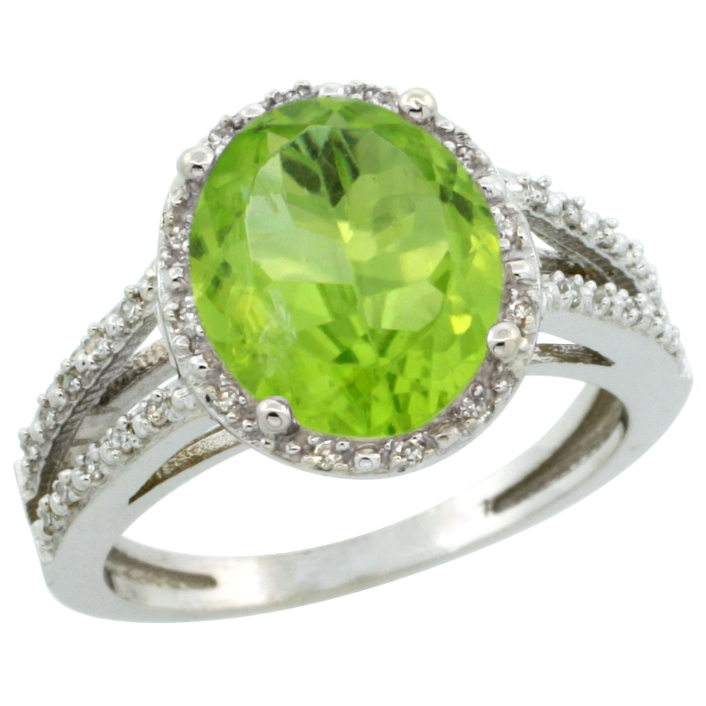 14K White Gold Natural Peridot Diamond Halo Ring Oval 11x9mm, sizes 5-10
