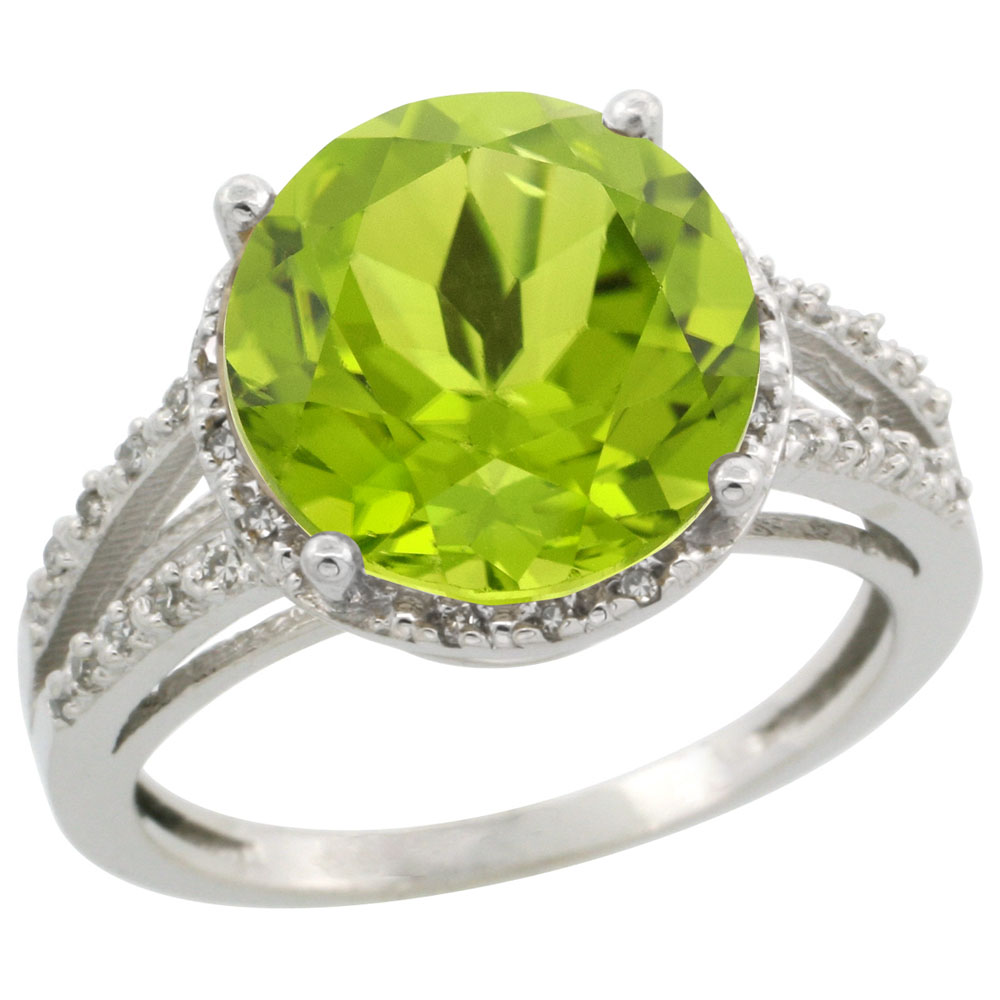 10K White Gold Diamond Natural Peridot Ring Round 11mm, sizes 5-10