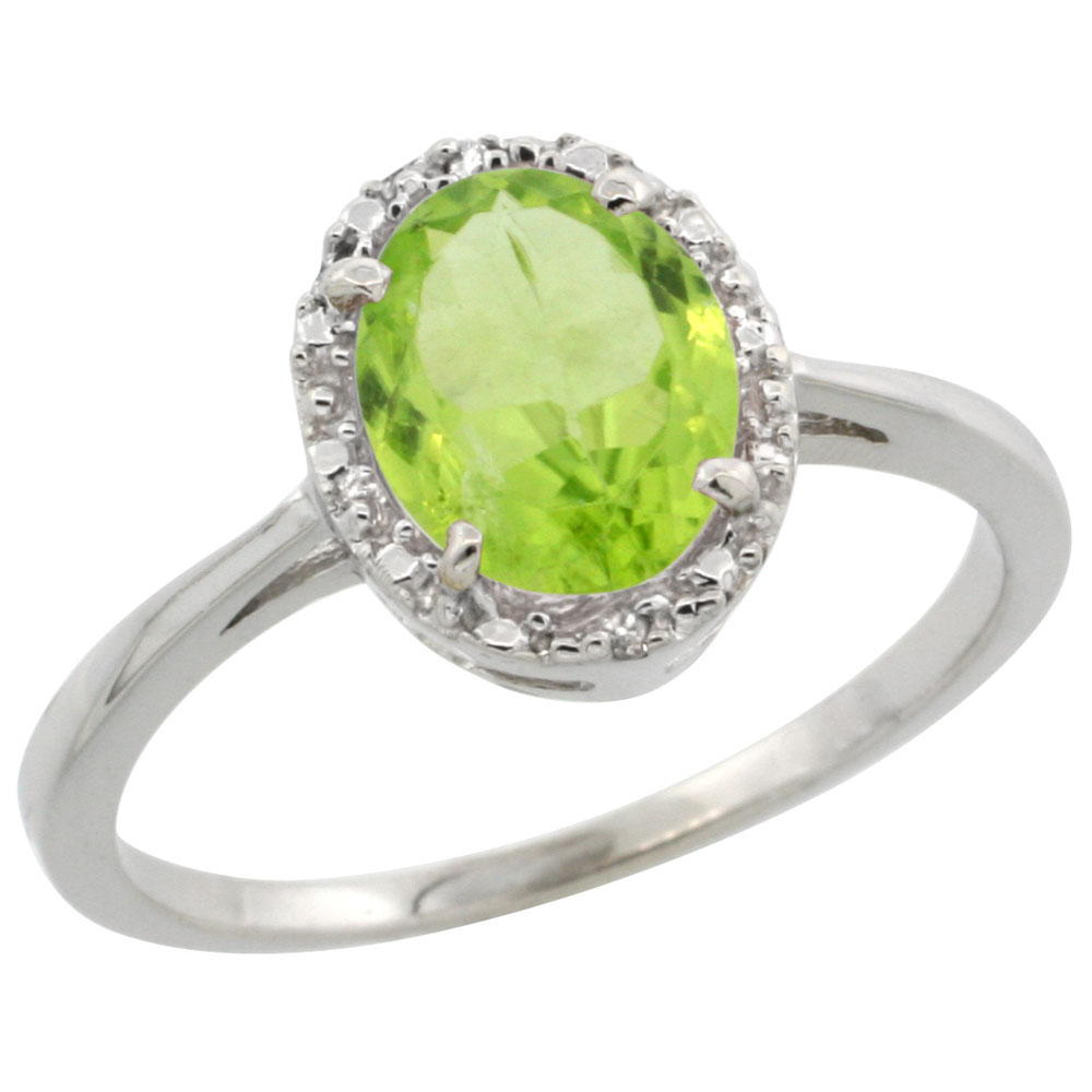 10k White Gold Natural Peridot Ring Oval 8x6 mm Diamond Halo, sizes 5-10