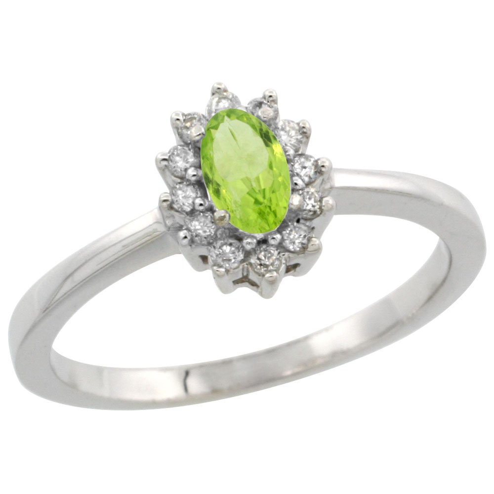 10k White Gold Natural Peridot Ring Oval 5x3mm Diamond Halo, sizes 5-10