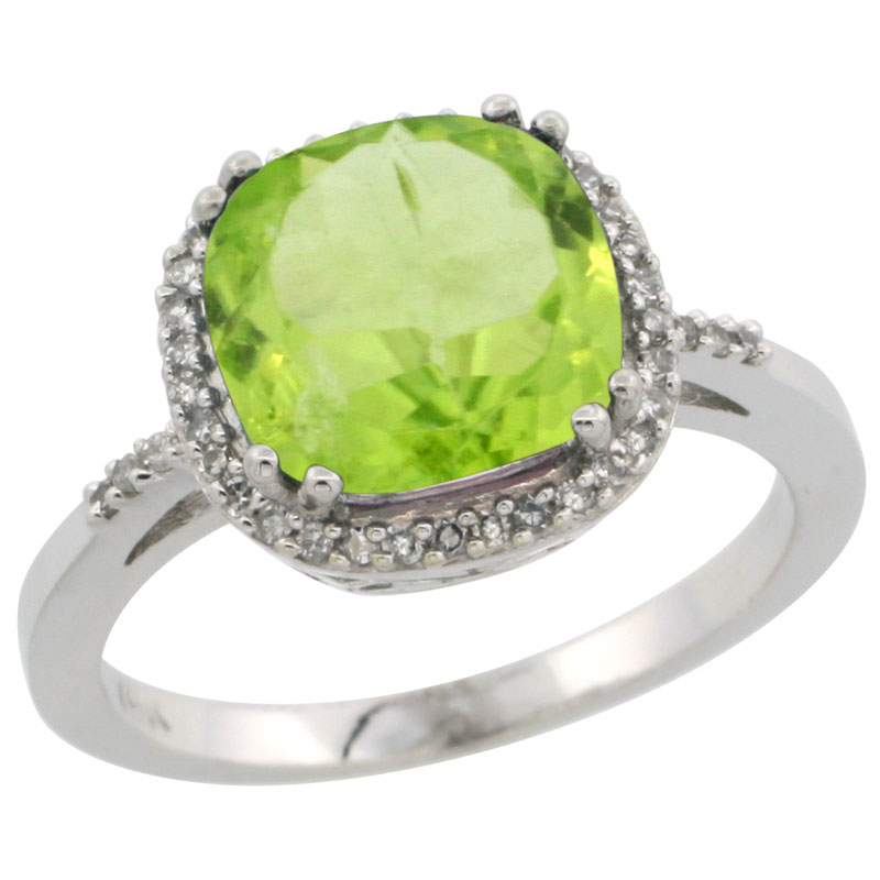 14K White Gold Diamond Natural Peridot Ring Cushion-cut 9x9mm, sizes 5-10