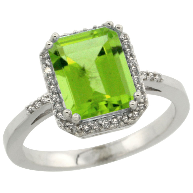 10K White Gold Diamond Natural Peridot Ring Emerald-cut 9x7mm, sizes 5-10