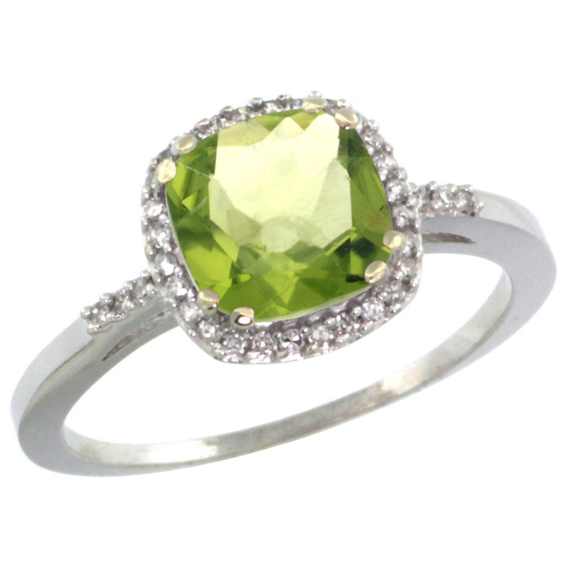 14K White Gold Diamond Natural Peridot Ring Cushion-cut 7x7mm, sizes 5-10