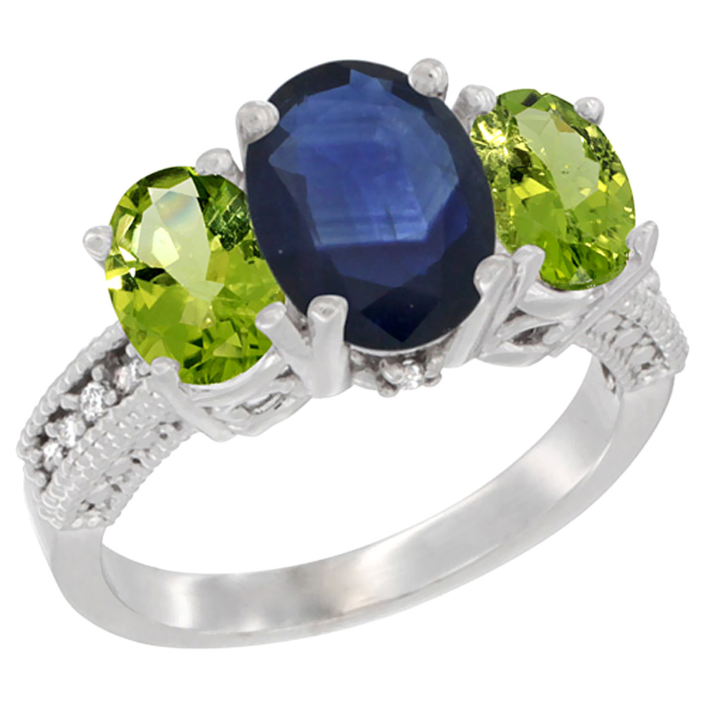 10K White Gold Diamond Natural Quality Blue Sapphire 3-stone Mothers Ring Oval 8x6mm with Peridot, sz5-10