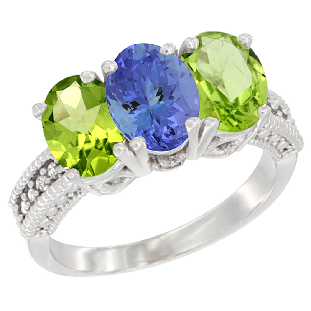 14K White Gold Natural Tanzanite & Peridot Sides Ring 3-Stone Oval 7x5 mm Diamond Accent, sizes 5 - 10