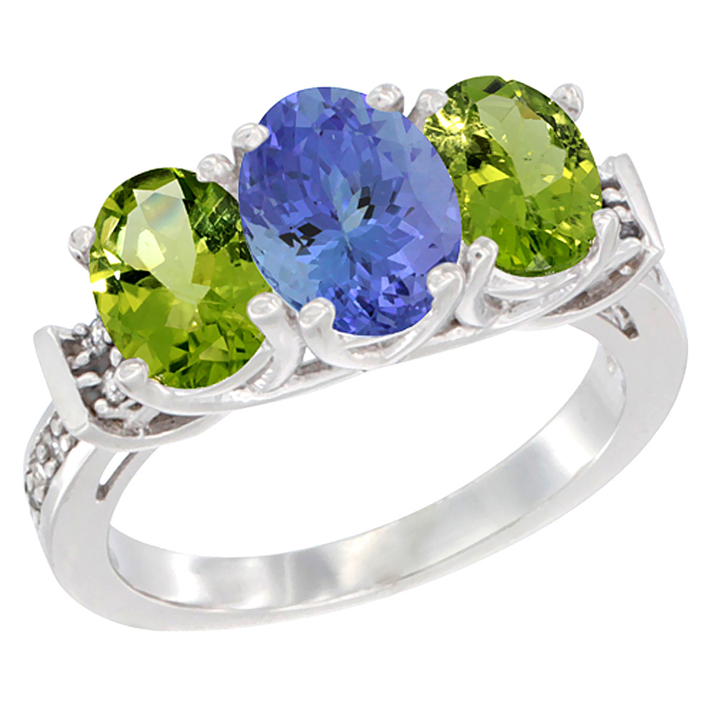 14K White Gold Natural Tanzanite & Peridot Sides Ring 3-Stone Oval Diamond Accent, sizes 5 - 10