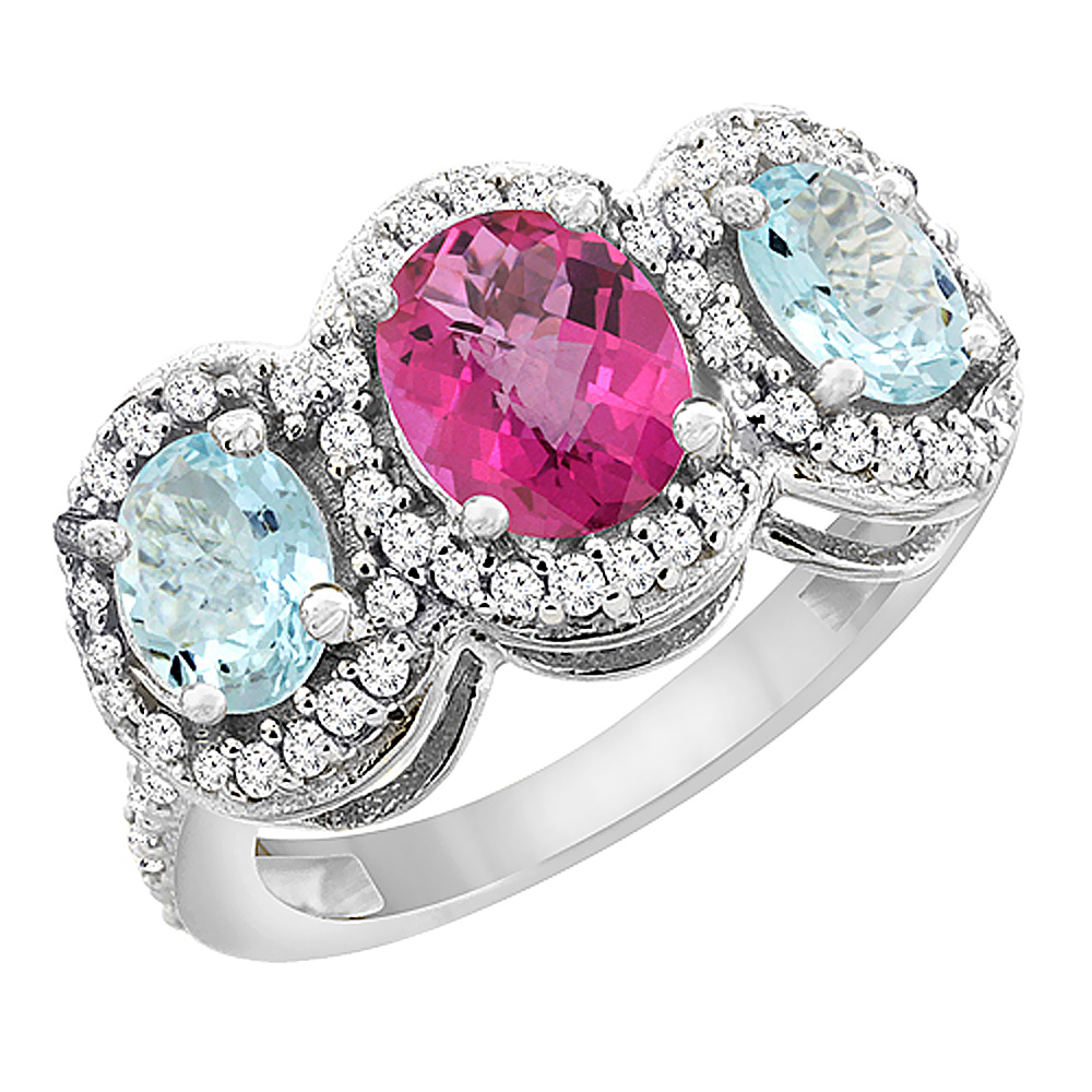 14K White Gold Natural Pink Sapphire & Aquamarine 3-Stone Ring Oval Diamond Accent, sizes 5 - 10