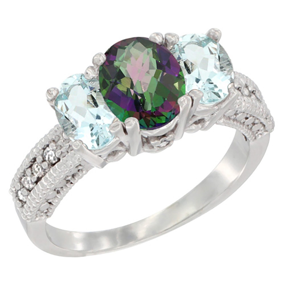 10K White Gold Diamond Natural Mystic Topaz Ring Oval 3-stone with Aquamarine, sizes 5 - 10