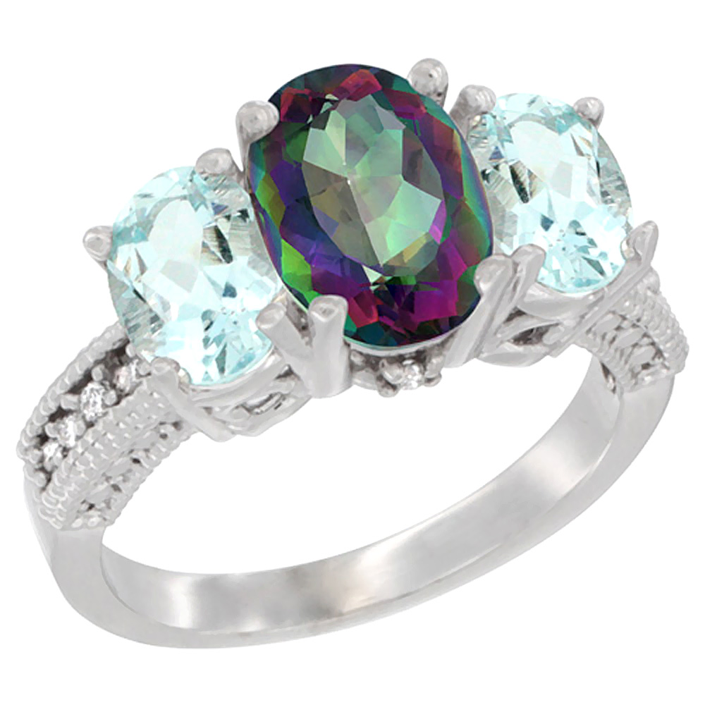 10K White Gold Diamond Natural Mystic Topaz Ring 3-Stone Oval 8x6mm with Aquamarine, sizes5-10