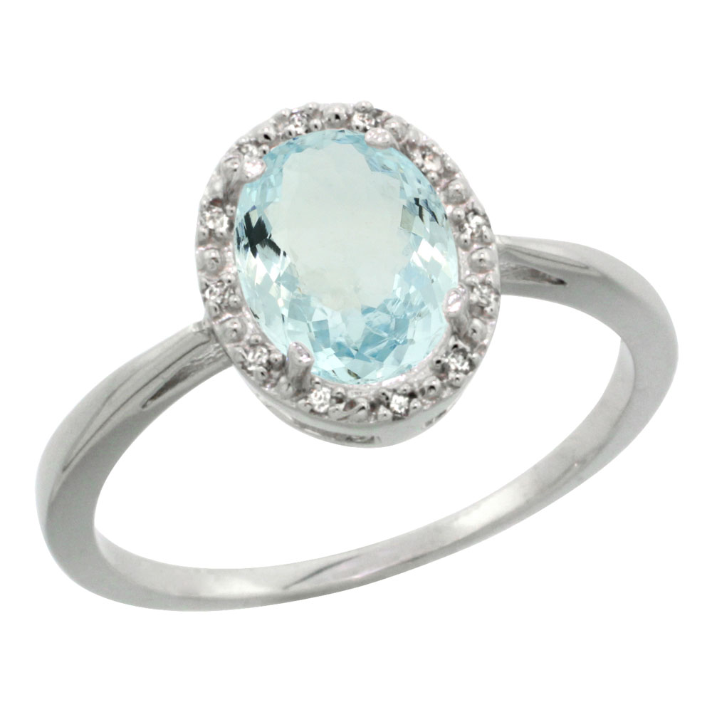 14K White Gold Natural Aquamarine Diamond Halo Ring Oval 8X6mm, sizes 5-10