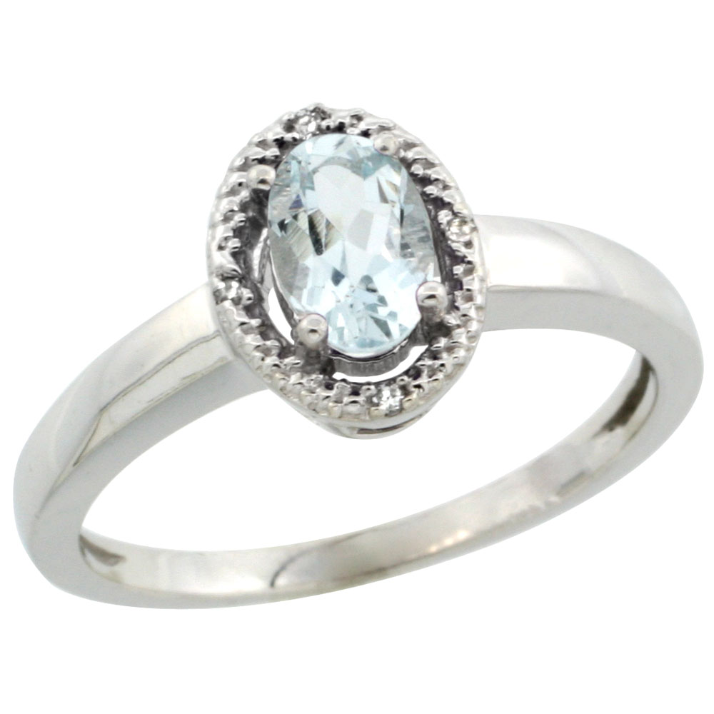 14K White Gold Diamond Halo Natural Aquamarine Engagement Ring Oval 6X4 mm, sizes 5-10