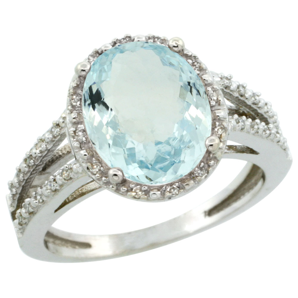 14K White Gold Natural Aquamarine Diamond Halo Ring Oval 11x9mm, sizes 5-10