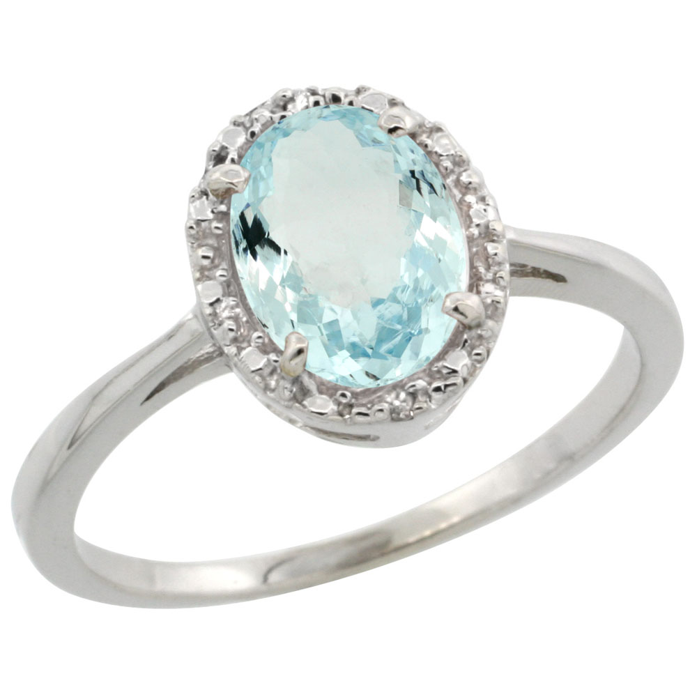 14K White Gold Natural Aquamarine Ring Oval 8x6 mm Diamond Halo, sizes 5-10