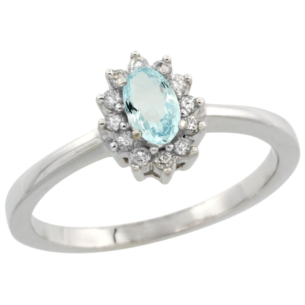 14K White Gold Natural Aquamarine Ring Oval 5x3mm Diamond Halo, sizes 5-10