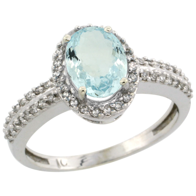 14K White Gold Natural Aquamarine Ring Oval 8x6mm Diamond Halo, sizes 5-10
